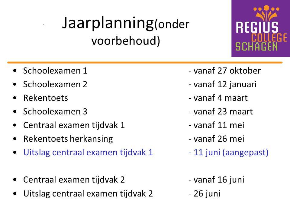 Jaarplanning (onder voorbehoud) Schoolexamen 1 - vanaf 27 oktober Schoolexamen 2 - vanaf 12 januari Rekentoets - vanaf 4 maart Schoolexamen 3 - vanaf
