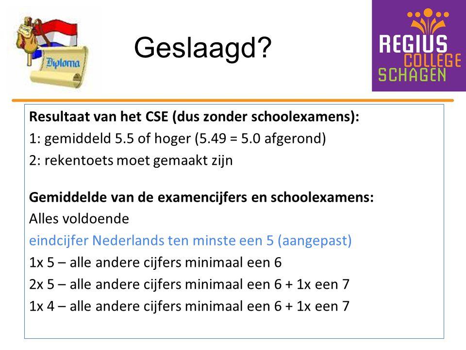 Geslaagd? Resultaat van het CSE (dus zonder schoolexamens): 1: gemiddeld 5.5 of hoger (5.49 = 5.0 afgerond) 2: rekentoets moet gemaakt zijn Gemiddelde
