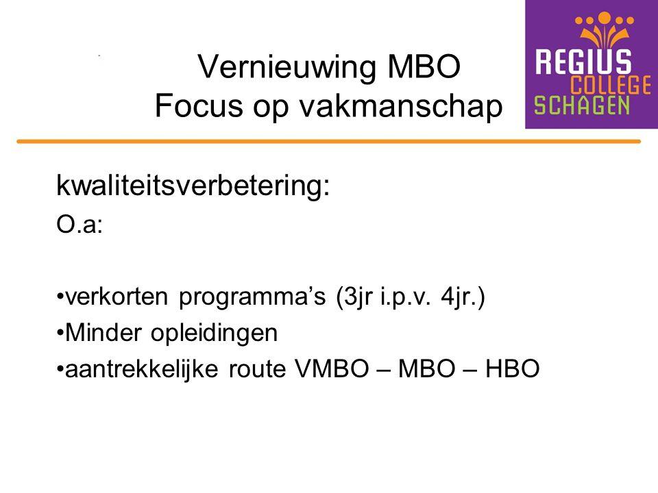 Vernieuwing MBO Focus op vakmanschap kwaliteitsverbetering: O.a: verkorten programma's (3jr i.p.v. 4jr.) Minder opleidingen aantrekkelijke route VMBO
