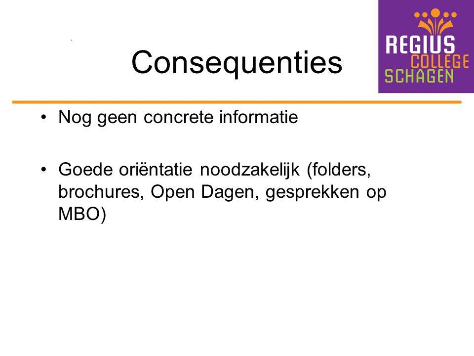 Consequenties Nog geen concrete informatie Goede oriëntatie noodzakelijk (folders, brochures, Open Dagen, gesprekken op MBO)