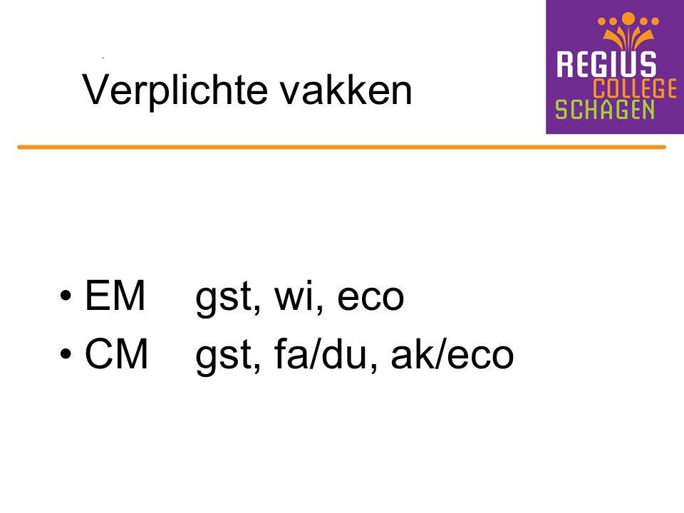 Verplichte vakken EMgst, wi, eco CMgst, fa/du, ak/eco
