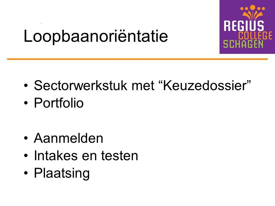 """Loopbaanoriëntatie Sectorwerkstuk met """"Keuzedossier"""" Portfolio Aanmelden Intakes en testen Plaatsing"""