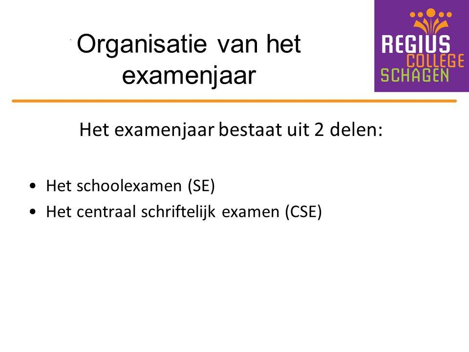 Organisatie van het examenjaar Het examenjaar bestaat uit 2 delen: Het schoolexamen (SE) Het centraal schriftelijk examen (CSE)