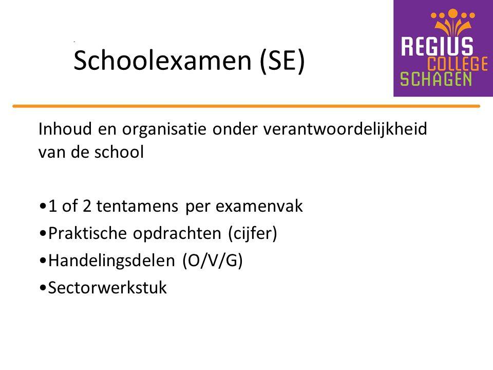 Schoolexamen (SE) Inhoud en organisatie onder verantwoordelijkheid van de school 1 of 2 tentamens per examenvak Praktische opdrachten (cijfer) Handeli