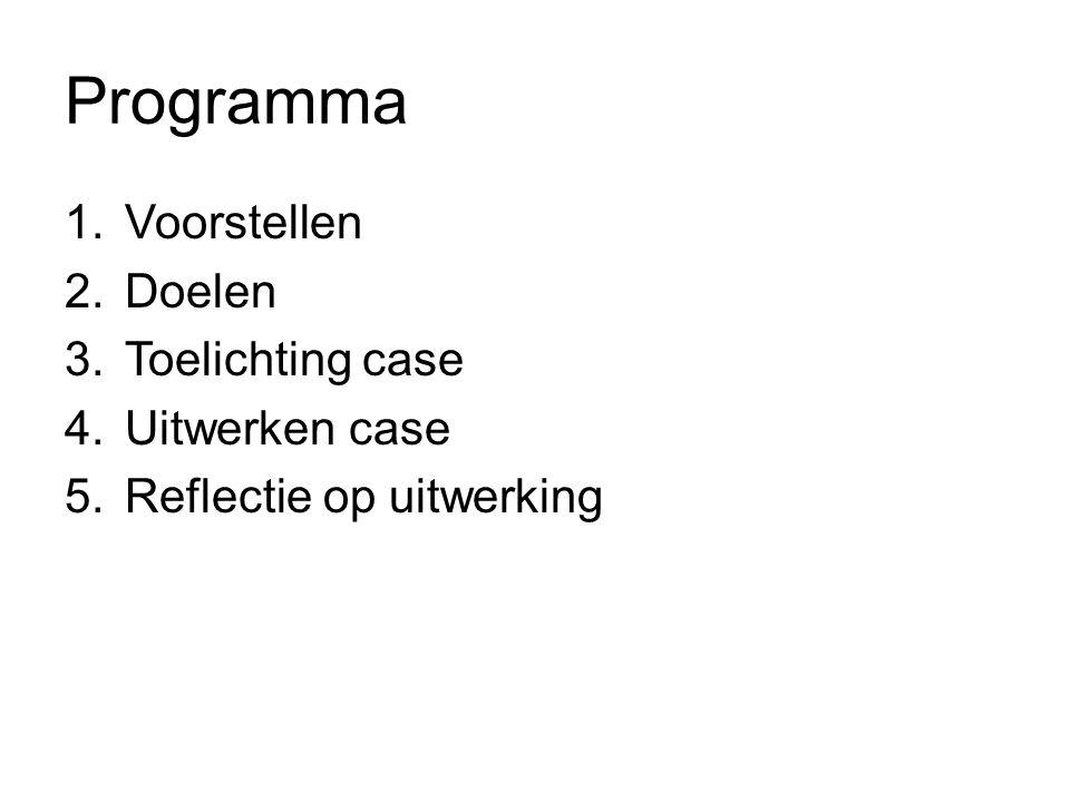 Programma 1.Voorstellen 2.Doelen 3.Toelichting case 4.Uitwerken case 5.Reflectie op uitwerking