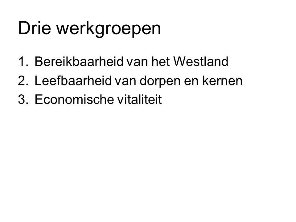 Drie werkgroepen 1.Bereikbaarheid van het Westland 2.Leefbaarheid van dorpen en kernen 3.Economische vitaliteit