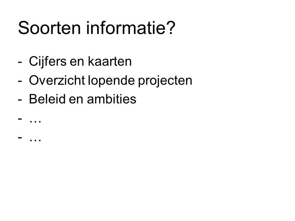 Soorten informatie? -Cijfers en kaarten -Overzicht lopende projecten -Beleid en ambities -…