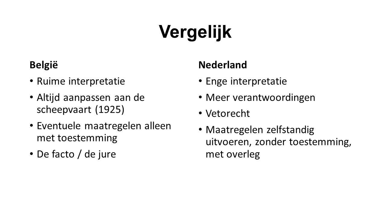 Vergelijk België Ruime interpretatie Altijd aanpassen aan de scheepvaart (1925) Eventuele maatregelen alleen met toestemming De facto / de jure Nederl