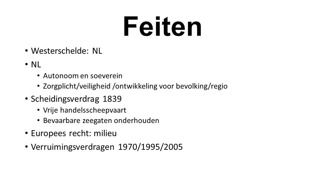 Feiten Westerschelde: NL NL Autonoom en soeverein Zorgplicht/veiligheid /ontwikkeling voor bevolking/regio Scheidingsverdrag 1839 Vrije handelsscheepv