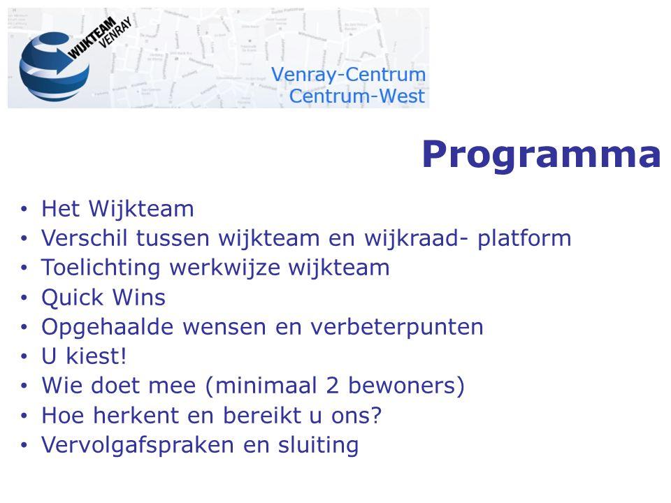 Programma Het Wijkteam Verschil tussen wijkteam en wijkraad- platform Toelichting werkwijze wijkteam Quick Wins Opgehaalde wensen en verbeterpunten U kiest.