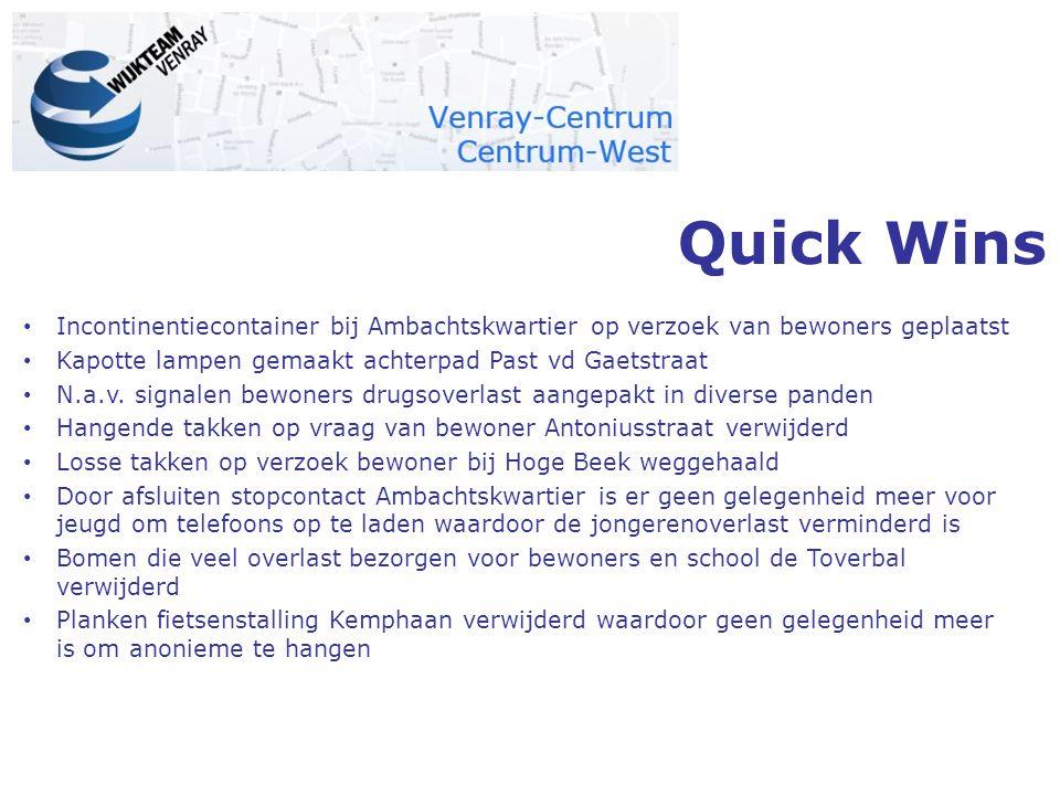 Quick Wins Incontinentiecontainer bij Ambachtskwartier op verzoek van bewoners geplaatst Kapotte lampen gemaakt achterpad Past vd Gaetstraat N.a.v.