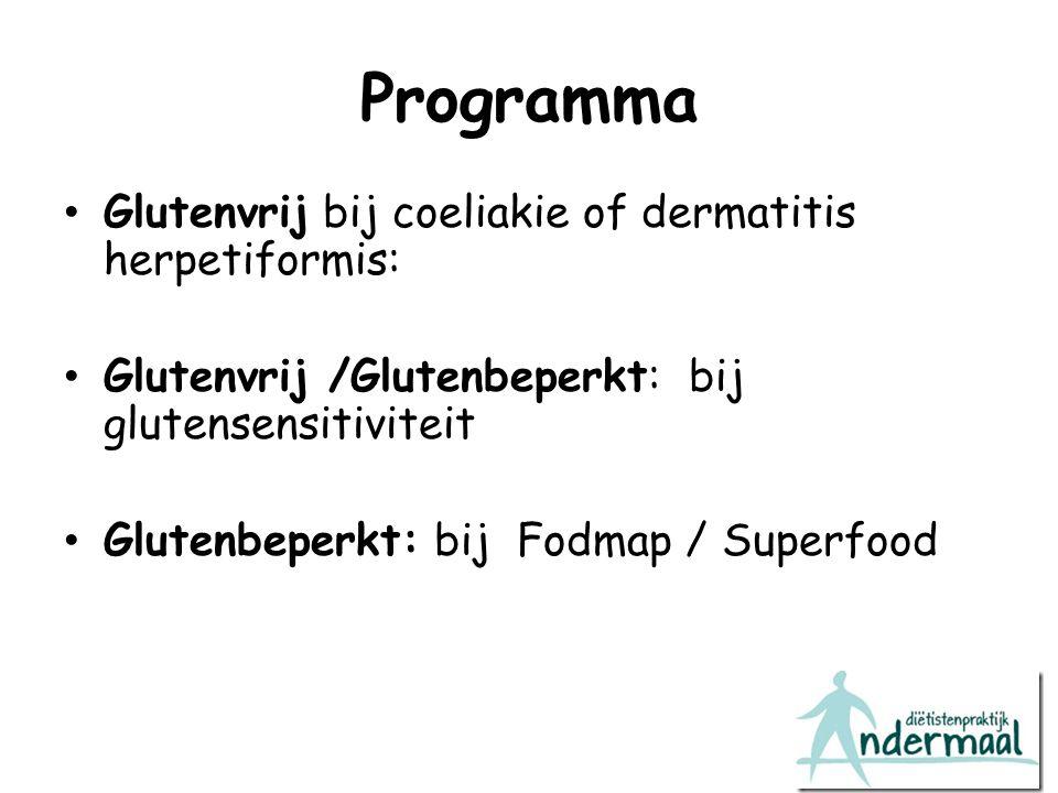 Programma Glutenvrij bij coeliakie of dermatitis herpetiformis: Glutenvrij /Glutenbeperkt: bij glutensensitiviteit Glutenbeperkt: bij Fodmap / Superfo