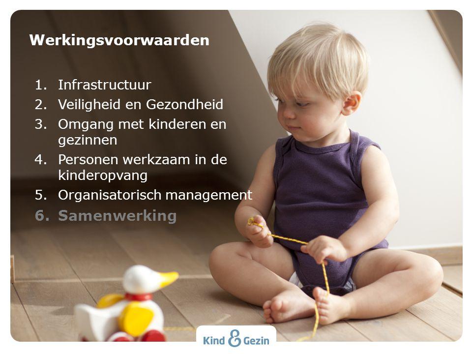 1.Infrastructuur 2.Veiligheid en Gezondheid 3.Omgang met kinderen en gezinnen 4.Personen werkzaam in de kinderopvang 5.Organisatorisch management 6.Sa