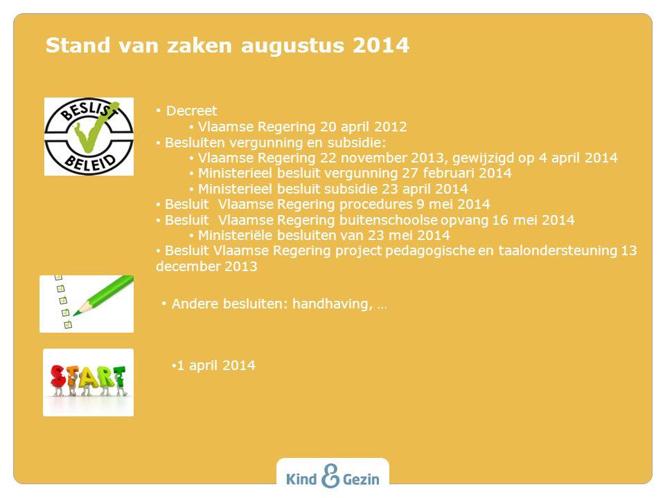Stand van zaken augustus 2014 Decreet Vlaamse Regering 20 april 2012 Besluiten vergunning en subsidie: Vlaamse Regering 22 november 2013, gewijzigd op