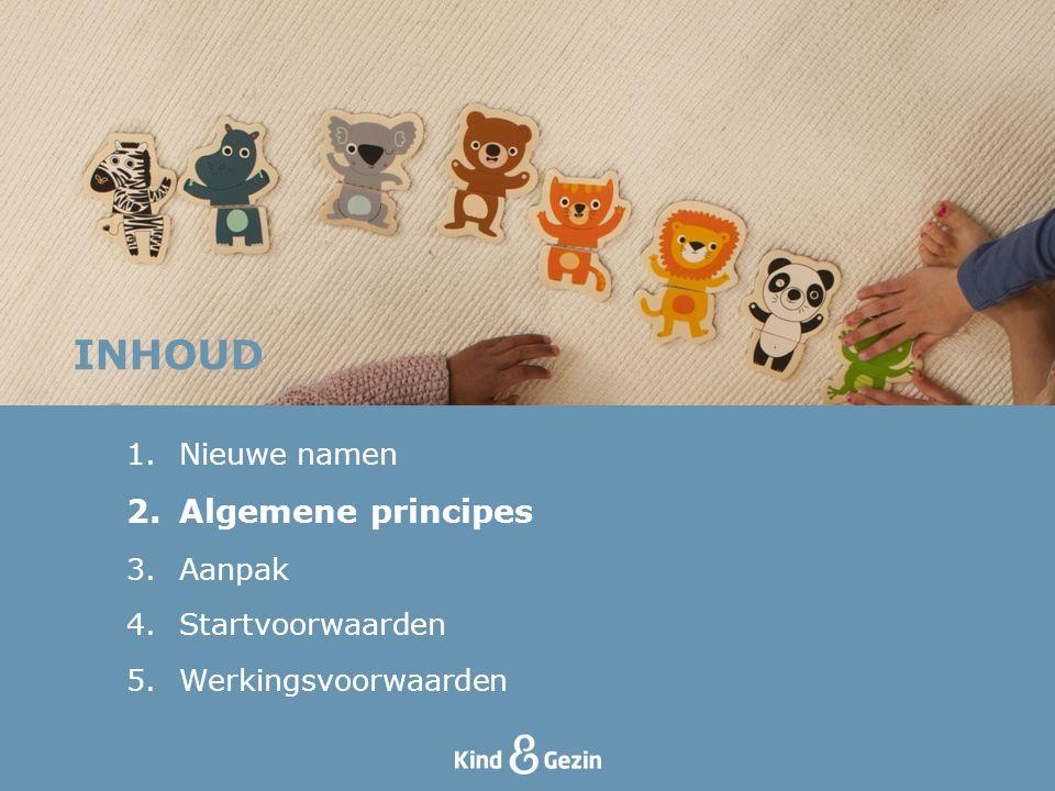 INHOUD 1.Nieuwe namen 2.Algemene principes 3.Aanpak 4.Startvoorwaarden 5.Werkingsvoorwaarden