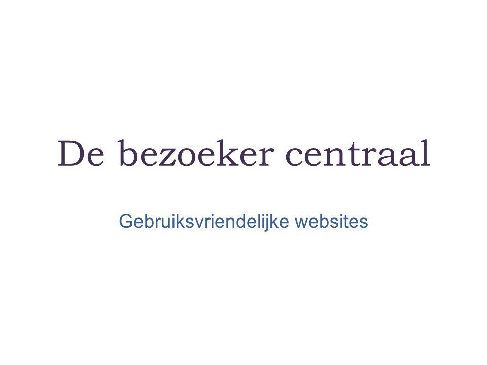 De bezoeker centraal Gebruiksvriendelijke websites