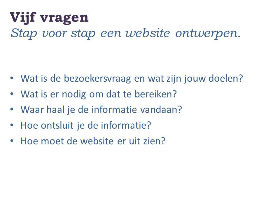 Vijf vragen Stap voor stap een website ontwerpen. Wat is de bezoekersvraag en wat zijn jouw doelen? Wat is er nodig om dat te bereiken? Waar haal je d