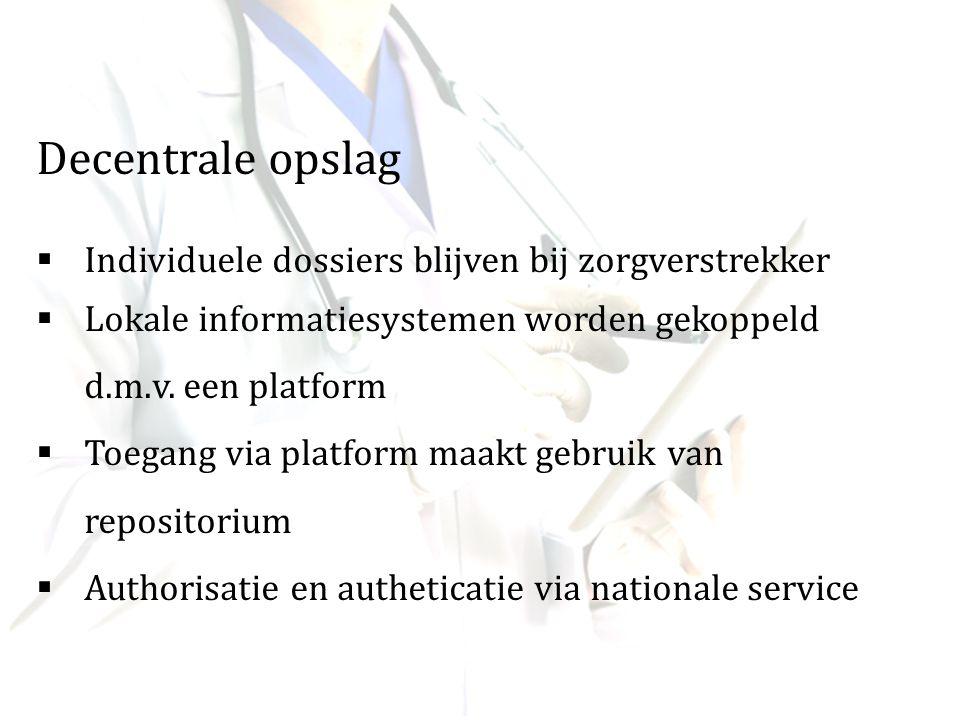 Decentrale opslag  Individuele dossiers blijven bij zorgverstrekker  Lokale informatiesystemen worden gekoppeld d.m.v. een platform  Toegang via pl