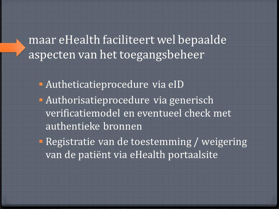 maar eHealth faciliteert wel bepaalde aspecten van het toegangsbeheer  Autheticatieprocedure via eID  Authorisatieprocedure via generisch verificati