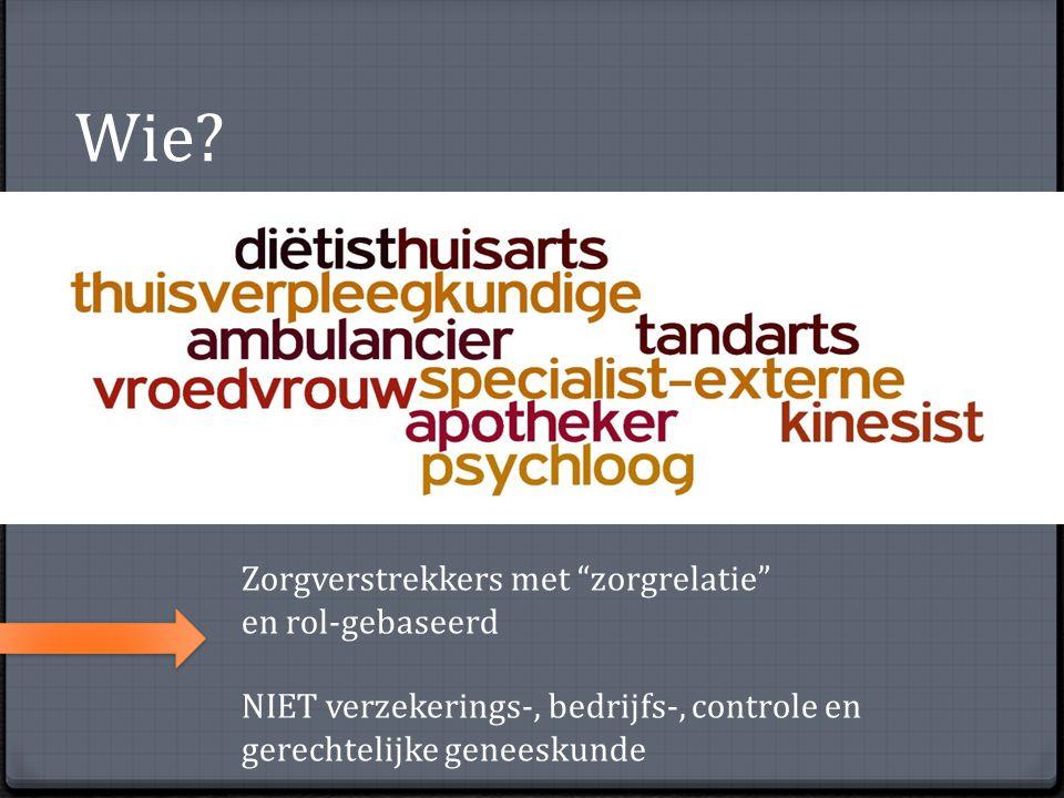 """Wie? Zorgverstrekkers met """"zorgrelatie"""" en rol-gebaseerd NIET verzekerings-, bedrijfs-, controle en gerechtelijke geneeskunde"""