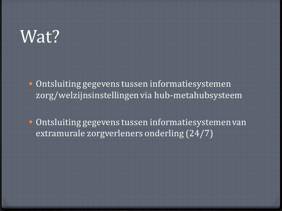Wat?  Ontsluiting gegevens tussen informatiesystemen zorg/welzijnsinstellingen via hub-metahubsysteem  Ontsluiting gegevens tussen informatiesysteme