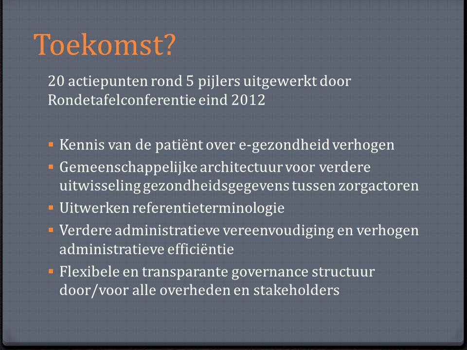 Toekomst? 20 actiepunten rond 5 pijlers uitgewerkt door Rondetafelconferentie eind 2012  Kennis van de patiënt over e-gezondheid verhogen  Gemeensch