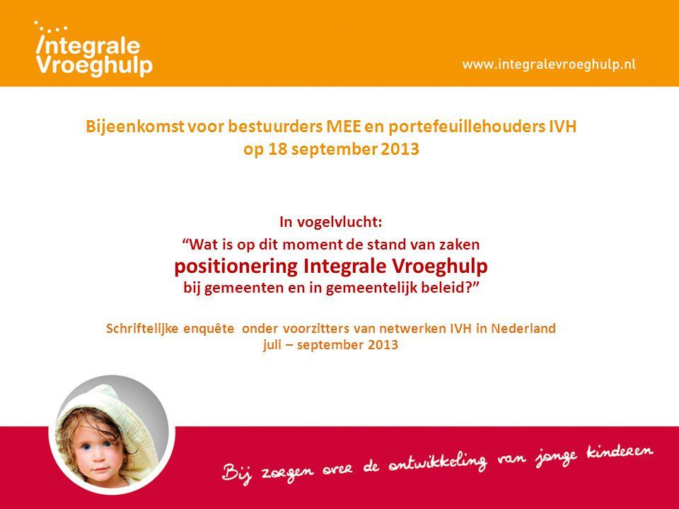 """Bijeenkomst voor bestuurders MEE en portefeuillehouders IVH op 18 september 2013 In vogelvlucht: """"Wat is op dit moment de stand van zaken positionerin"""