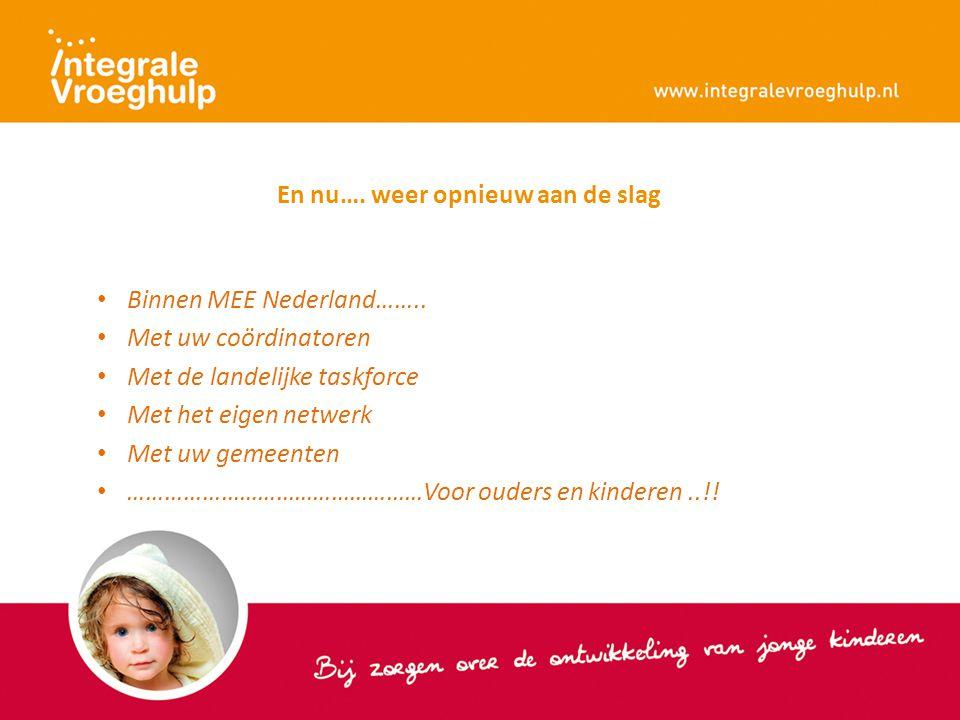 En nu…. weer opnieuw aan de slag Binnen MEE Nederland…….. Met uw coördinatoren Met de landelijke taskforce Met het eigen netwerk Met uw gemeenten …………