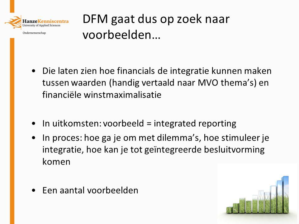 DFM gaat dus op zoek naar voorbeelden… Die laten zien hoe financials de integratie kunnen maken tussen waarden (handig vertaald naar MVO thema's) en f