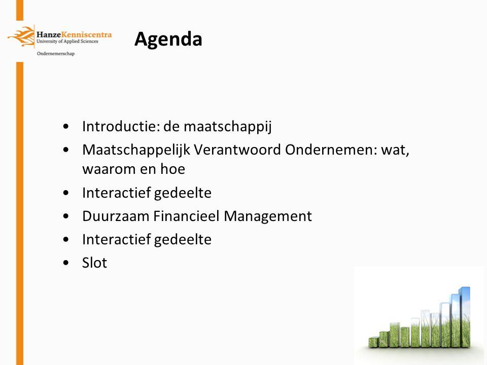 Agenda Introductie: de maatschappij Maatschappelijk Verantwoord Ondernemen: wat, waarom en hoe Interactief gedeelte Duurzaam Financieel Management Int