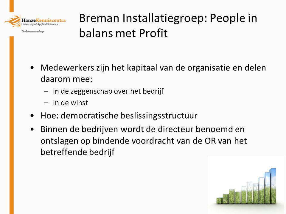 Breman Installatiegroep: People in balans met Profit Medewerkers zijn het kapitaal van de organisatie en delen daarom mee: –in de zeggenschap over het