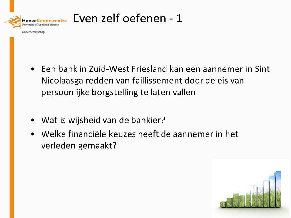 Een bank in Zuid-West Friesland kan een aannemer in Sint Nicolaasga redden van faillissement door de eis van persoonlijke borgstelling te laten vallen