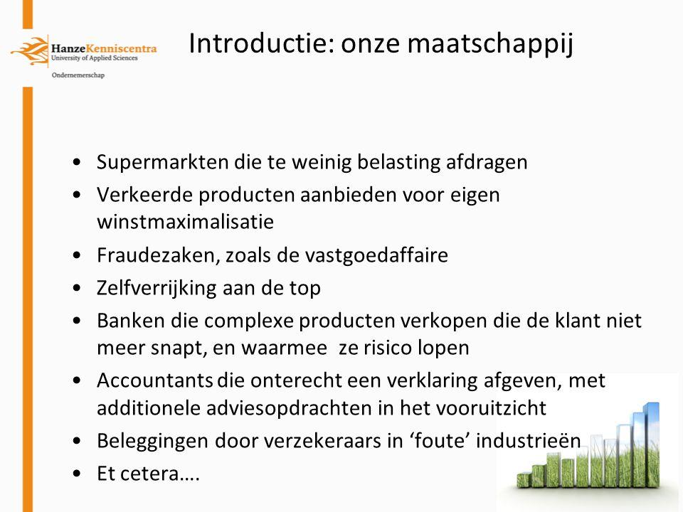 Introductie: onze maatschappij Supermarkten die te weinig belasting afdragen Verkeerde producten aanbieden voor eigen winstmaximalisatie Fraudezaken,