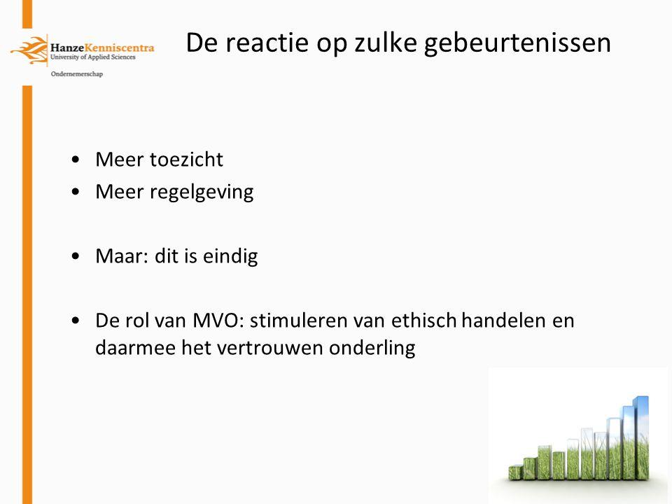De reactie op zulke gebeurtenissen Meer toezicht Meer regelgeving Maar: dit is eindig De rol van MVO: stimuleren van ethisch handelen en daarmee het v