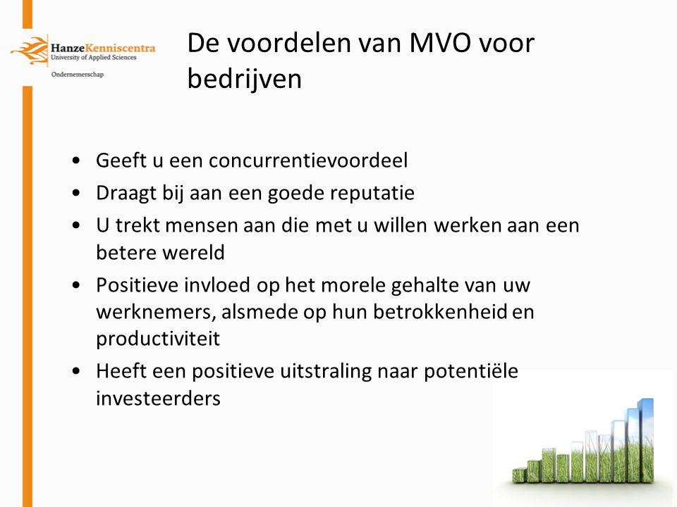 De voordelen van MVO voor bedrijven Geeft u een concurrentievoordeel Draagt bij aan een goede reputatie U trekt mensen aan die met u willen werken aan