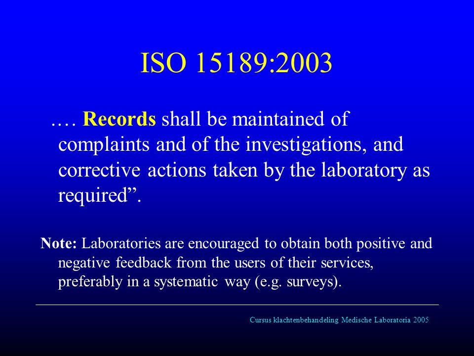 Cursus klachtenbehandeling Medische Laboratoria 2005 ISO 15189:2003 4.15.2 Management review shall take account of : …..