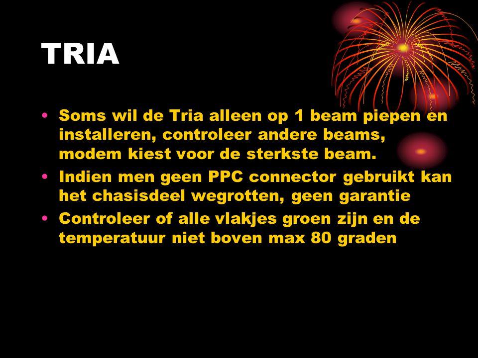 TRIA Soms wil de Tria alleen op 1 beam piepen en installeren, controleer andere beams, modem kiest voor de sterkste beam. Indien men geen PPC connecto
