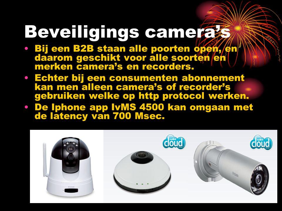 Beveiligings camera's Bij een B2B staan alle poorten open, en daarom geschikt voor alle soorten en merken camera's en recorders. Echter bij een consum