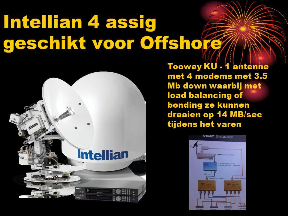 Intellian 4 assig geschikt voor Offshore Tooway KU - 1 antenne met 4 modems met 3.5 Mb down waarbij met load balancing of bonding ze kunnen draaien op