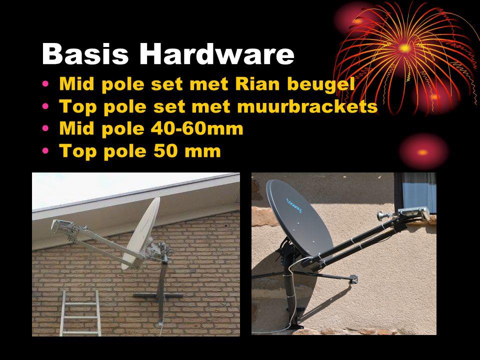 Basis Hardware Mid pole set met Rian beugel Top pole set met muurbrackets Mid pole 40-60mm Top pole 50 mm