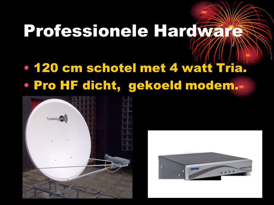 Professionele Hardware 120 cm schotel met 4 watt Tria. Pro HF dicht, gekoeld modem.