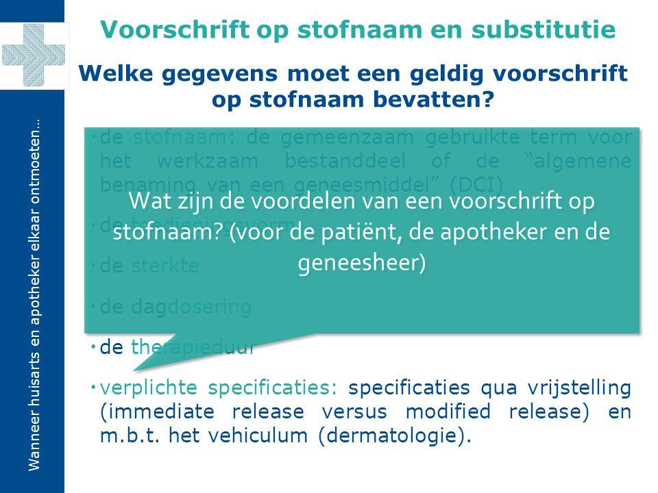 Wanneer huisarts en apotheker elkaar ontmoeten… Bij geneesmiddelen die worden gekwalificeerd als NO VOS door het FAGG (bv.