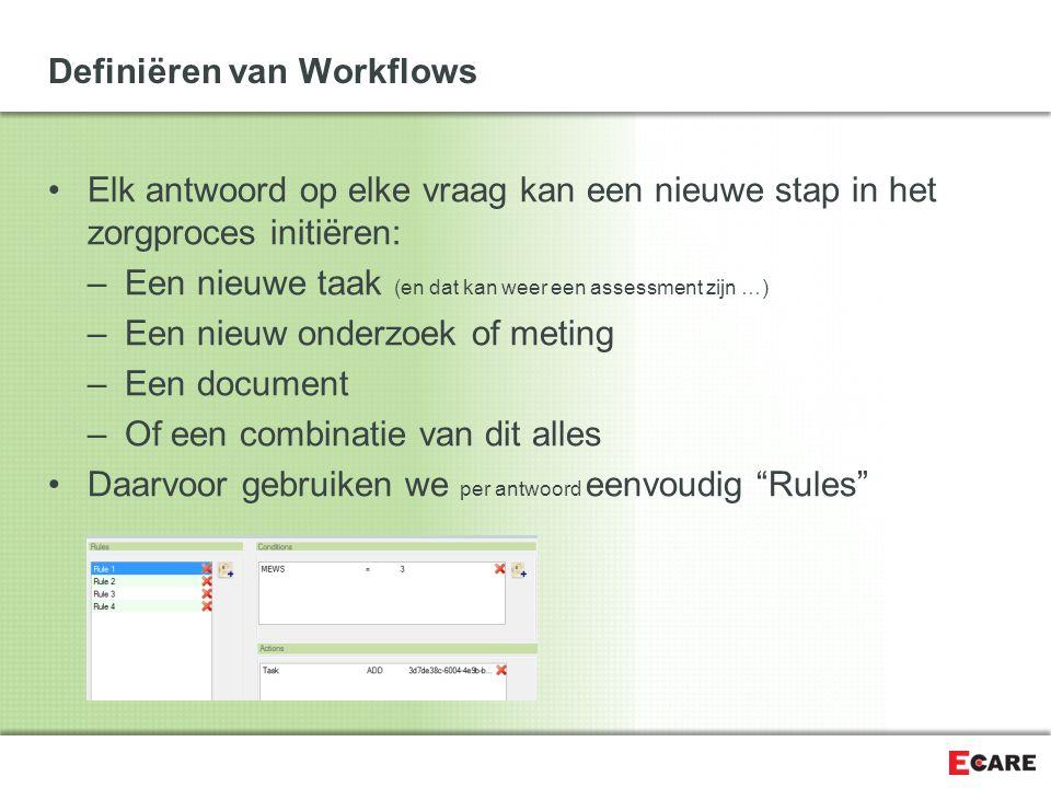Definiëren van Workflows Elk antwoord op elke vraag kan een nieuwe stap in het zorgproces initiëren: –Een nieuwe taak (en dat kan weer een assessment zijn …) –Een nieuw onderzoek of meting –Een document –Of een combinatie van dit alles Daarvoor gebruiken we per antwoord eenvoudig Rules