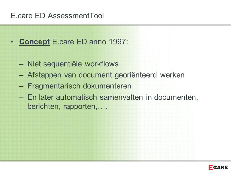 E.care ED AssessmentTool Hiaat: –Sequenties binnen niet sequentiële workflows –Documenten verdwijnen niet –Checklists met berekeningen en vervolgtaken –Behoefte aan sturing van onderzoeken en workflows Per specialisme Per patiëntprofiel