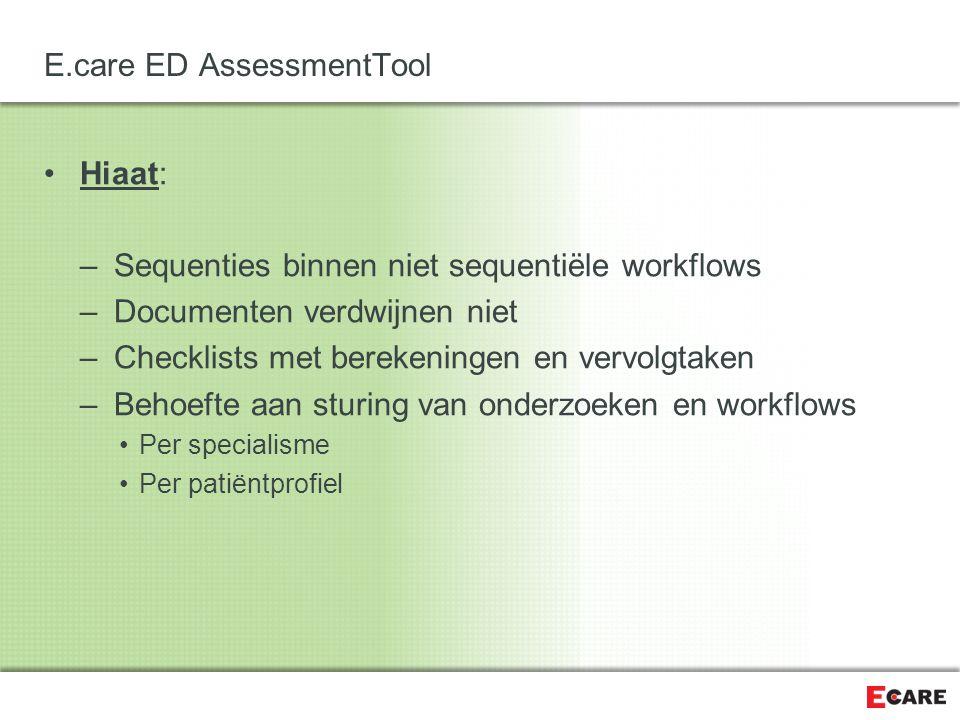 E.care ED Assessment Tool Oplossing: E.care ED AssessmentTool Beschikbaar als Module Vanaf Versie 3.0