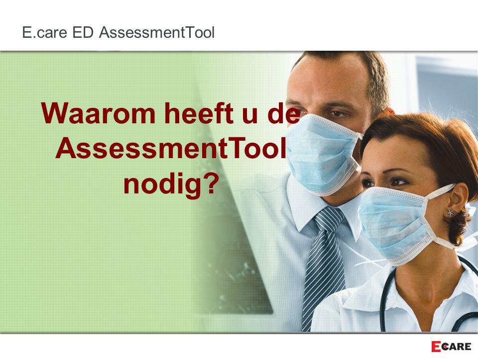 Waarom heeft u de AssessmentTool nodig? E.care ED AssessmentTool