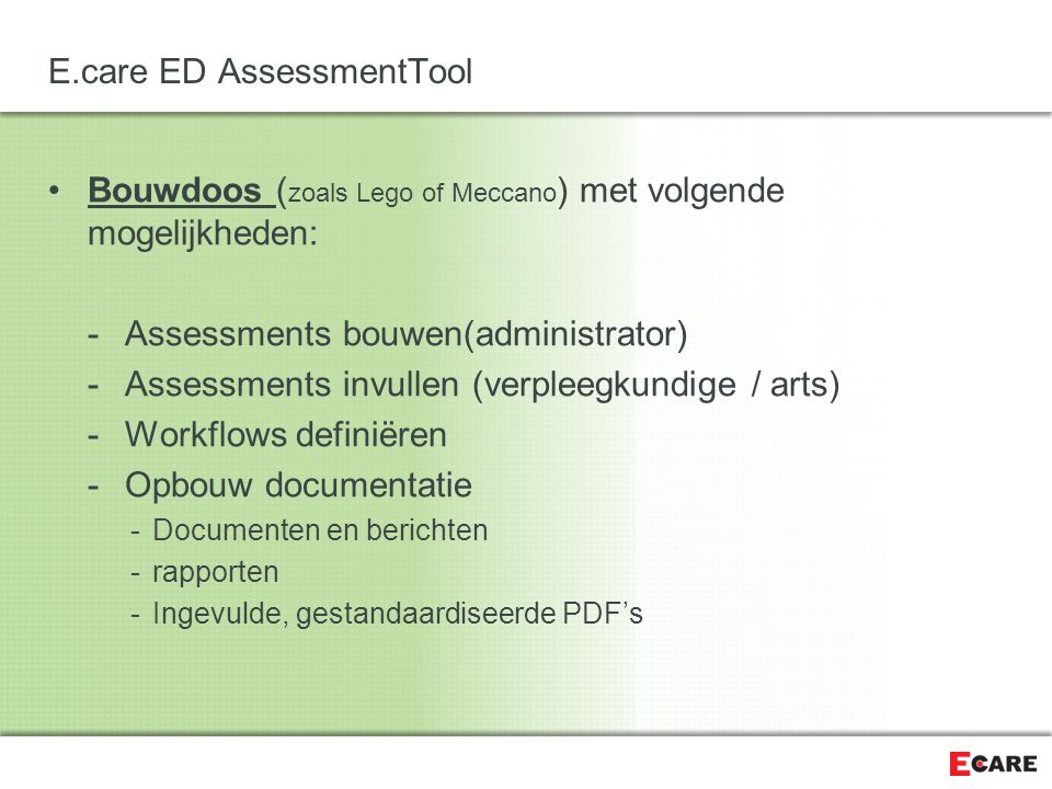 E.care ED AssessmentTool Een Assessment bouwen (administrator)