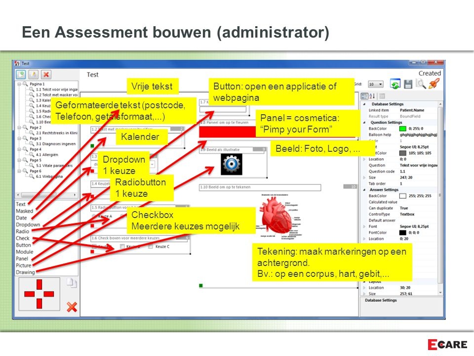 Een Assessment bouwen (administrator) Tekening: maak markeringen op een achtergrond.