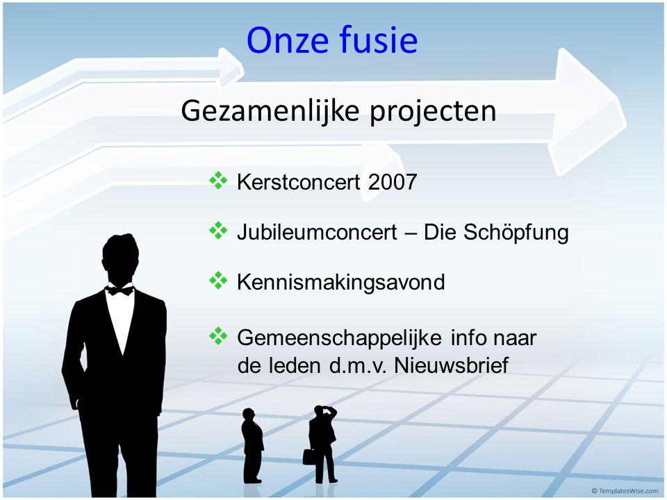 Gezamenlijke projecten  Kerstconcert 2007  Jubileumconcert – Die Schöpfung  Kennismakingsavond  Gemeenschappelijke info naar de leden d.m.v. Nieuw