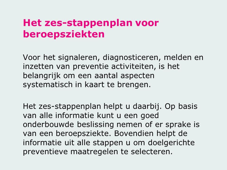 Het zes-stappenplan voor beroepsziekten Voor het signaleren, diagnosticeren, melden en inzetten van preventie activiteiten, is het belangrijk om een a